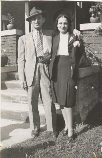 Harry and Anne Levene in front of their Kitchener home, 250 Simeon Street.