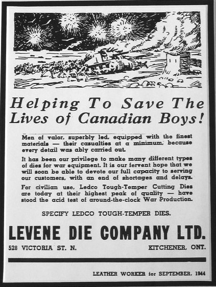 Medco boasted of its products' excellence in this advertisement from the September 1944 Leather Worker Magazine. During the Second World War, thousands of smaller industrial firms, such as Ledco, boosted production not only for the war effort itself but to keep other domestic firms operating. Leduc's relationship with the shoemaking industry is a strong example.