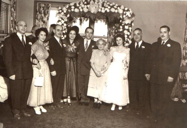 Left to right, Shirley's parents David S. and Nellie Garfield, Harry and Anne Leven, Sol Yates, Grandma Bertha Segal, Shirley M. Yates, Uncle's Irving Segal and Albert Segal. 1949. Courtesy:Shirley Warfield Yates.