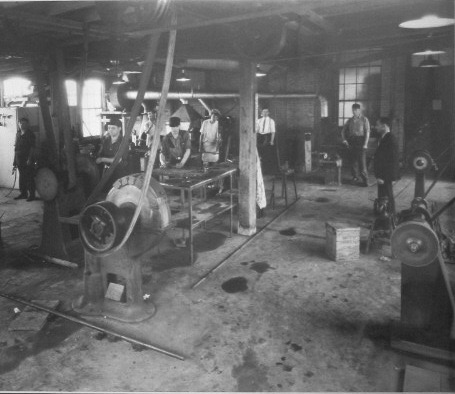 528 Victoria Street North, almost opposite Filbert Street, was Ledco's first home and saw the firm through the hectic Second World War years. Harry Levene is seen at the right in this wartime factory photograph which captures a variety of belt driven machinery. c/o Jack Segal.