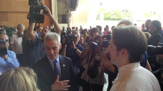 Rah Emanuel at a media event in Chicago.