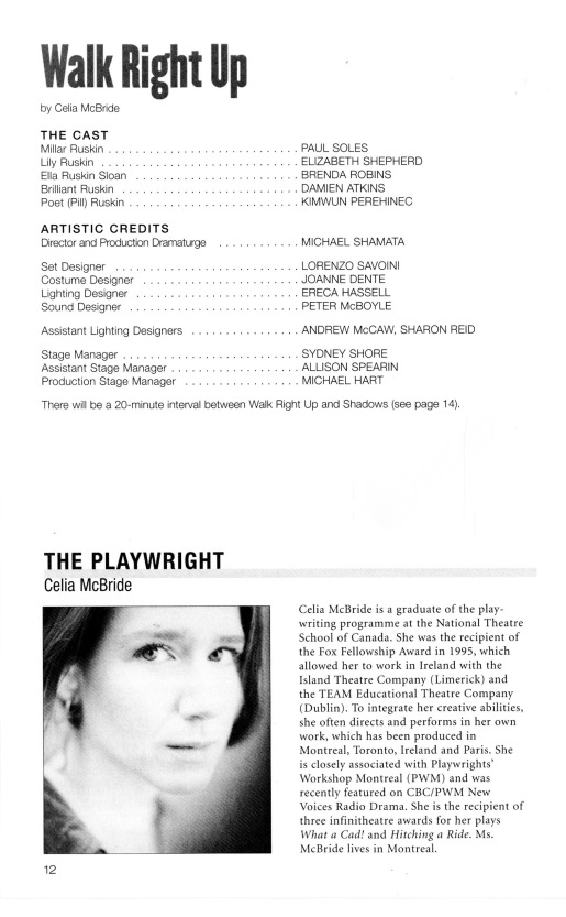 Page 12 of the Studio Theatre program 2002